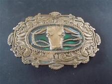 Vtg 1982 CAST BRASS BARON BUCKLE BULL or CATTLE Head & Horns Green Enamel MINT
