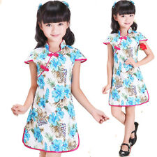 New Cute Girls White and Blue Flower Chinese Dress 7-8 Years