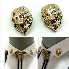 Unisex Womens Mens Gold Lion Head Brooch Suit Shirt Collar Clip Lovers Jewelry