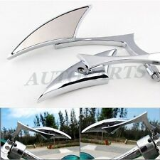 Chrome Motorcycle Mirrors Blade Sickle Scythe Style Rear View Mirror Adapters US