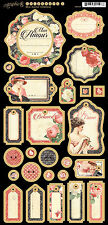 Graphic45 MON AMOUR #1 Journaling Chipboard (27pc) scrapbooking VINTAGE LOVE