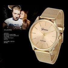 Fashion  Womens Watches Gold Stainless Steel Quartz Men Wrist Watch45521