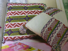 Knitting Pattern To Make  2 Bright  Colourful Cushions In D.K.-Both 16ins sq.