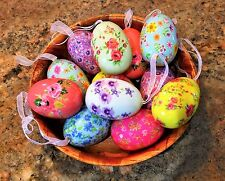 12~RAZ Floral Easter Eggs Painted Cottage Chic Shabby Spring for Basket Wreath