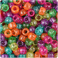 500 Jelly Mix Sparkle 9x6mm Barrel Pony Beads Made in the USA by The Beadery