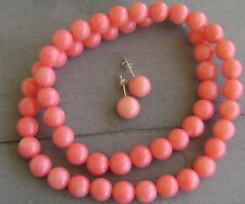 GENUINE PINK CORAL NECKLACE AND EARRINGS