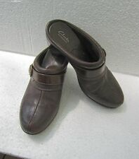 "Clarks Bendables Brown Leather Mule Slide Clog Size 8 M Buckle Clog 3"" Heel"