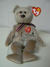 Ty Beanie Baby 1999 SIGNATURE BEAR Plush Brown Bear with Red Heart on Chest