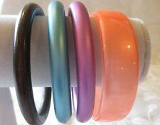 """Lot 4 Pearlized Plastic Lucite Bangle Bracelets 2 5/8"""" dis round donut smooth"""