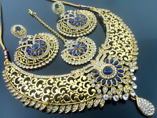 BLUE CZ GOLD TONE NECKLACE SET BOLLYWOOD TRADITIONAL PARTY WEAR BRIDAL JEWELRY
