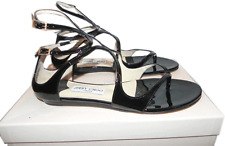 Jimmy Choo Black LEJA Strappy Patent Leather Flat Sandals Slingback 40- 9.5 Shoe