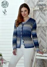 KNITTING PATTERN Ladies Long Sleeve Round Neck Cardigan DK King Cole 4725