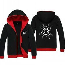 Anime Naruto Uzumaki Casual Black Jacket Hooded Sweatshirt Hoodie Coat