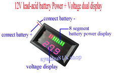 12V Lead-acid Batteries Storage Battery Power Voltage Dual Display Pannel Meter
