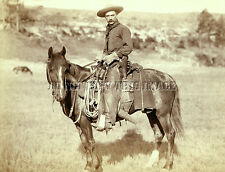 ANTIQUE REPRODUCTION 8X10 PHOTOGRAPH WESTERN COWBOY ON HORSEBACK