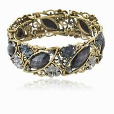 Vintage Black Enamel Hollow Flower Gem Diamante Cuff Statement Bracelet Bangle