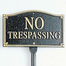Whitehall Products No Trespassing Garden Yard Lawn sign Black Gold Outdoor