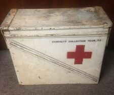 "vintage RED CROSS ""CASUALTY COLLECTION TEAM"" METAL MEDICAL BOX first aid MEDIC"