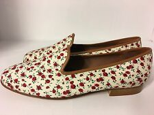 Zalo Needlepoint Slip On Loafers Red Floral  Women's Size 7.5 M