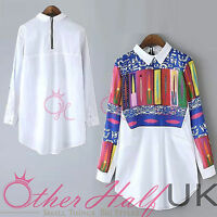 UK Women Summer Print Casual Sexy Tops Shirt Blouse Ladies Size 6-14