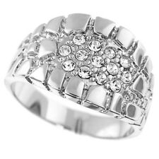 Mens Crystal Rocky Road Pave Silver Rhodium Plated Ring Size 13
