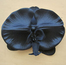 "Large 4 1/4"" Goth Black Orchid Poly Silk Flower Alligator Hair Clip,Halloween"
