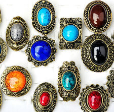 10pcs Wholesale Mixd Lots Charm Big Stone Gemstone Adjustable Bronze Rings Bulk