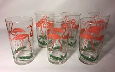 Vintage Glass Tumblers Pink Flamingos Set of 6