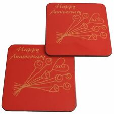 40th Wedding Anniversary (Ruby) Pair of Coasters Flower