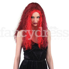 Long Red Sorceress Wig Devil Gothic Witch Halloween Fancy Dress Accessory