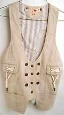 CONVERSE JOHN VARVATOS Vest Size M Womens Snap Button Light Beige Suede