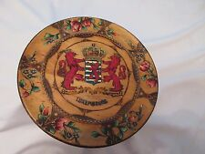 Luxembourg Middle Coat of Arms Wood Plaque Carved Painted Vtg Royal Multi-Color