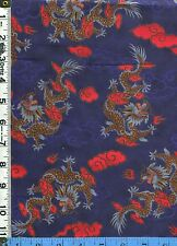 Fabric Hoffman DRAGONS RED ASIAN CLOUDS ON NAVY China doll collection