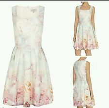 New Ladies Coast Almina Rose Print Occasion  Dress UK Size 8 multi white pink
