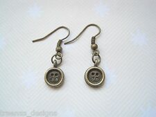 *CUTE TINY BRONZE BUTTON* Antique Gold Drop Earrings Rockabilly Retro Gift Bag