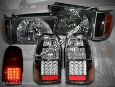 1996-1998 TOYOTA 4RUNNER BLACK STYLE HEADLIGHTS + CORNER + LED TAIL LIGHTS BLACK