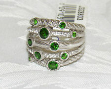 JUDITH RIPKA STERLING SILVER MULTI-ROW 1.20 CTTW CHROME DIOPSIDE RING Size 7 NEW