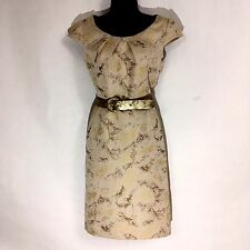 ANTONIO MELANI 4 S dress gold cream jacquard cap sleeve sheath pencil cocktail