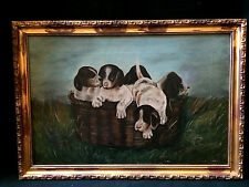 "ADORABLE PUPPIES DOG IN BASKET PAINTING ANTIQUE OIL ON CANVAS PUPPY 20X14"" FRAME"