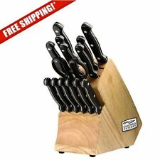 Kitchen Knife Set Wood Block Steak Knives Stainless Steel Chicago Cutlery Chef