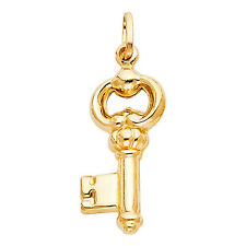 14k Solid Yellow Gold Key Charm Pendant for Necklace 1.6 grams, 1.25""