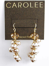 CAROLEE 'In Bloom' Pink Bead Gold-Tone Faux-Pearl Cluster Drop Earrings