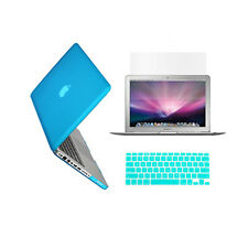 "3 in 1 Rubberized AQUA BLUE Case for Macbook PRO 13"" + Key Cover +LCD Screen"