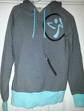 "ZUMBA HOODED SWEATER HOODIE HUGE SPARKLING "" MOVE ME "" ON BACK SIDE! SIZE SMALL"