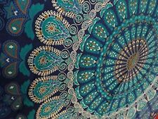 Mandala Tapestry Blue Hippie Bedspread Tablecloth Wall India Cotton Paisley Twin