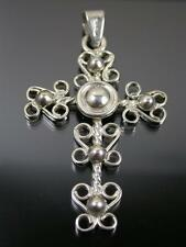 LARGE VINTAGE MEXICAN STERLING SILVER PENDANT CROSS C.1970