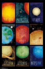 2014 SOLAR SYSTEM PLANETS GRID EDUCATIONAL POSTER 22x34 NEW FREE SHIPPING