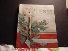 Vintage WWII-WW2-Era 1945 Large CHRISTMAS Card To Mother w/Candle, Holly,Braided