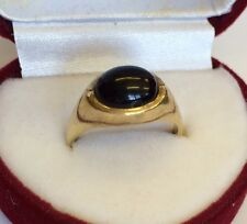 Vintage 9ct Solid Gold Hallmarked 375 Black Onyx Unisex Men's Ring M1/2