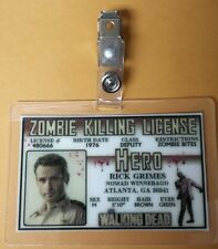 The Walking Dead Id Badge-Zombie Killing License Rick Grimes